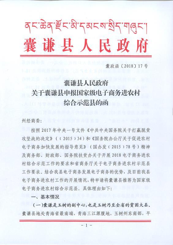 关于囊谦县申报国家电子商务进农村综合示范县的函