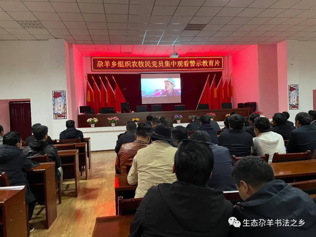 (尕羊乡)组织农牧民党员集中观看警示教育片